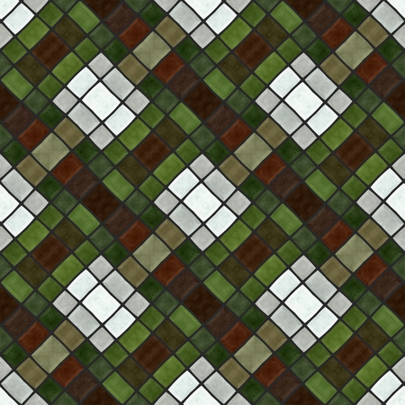 rhombic: Abstract checkered green brown white gray mosaic tile pattern Stock Photo