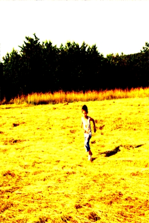 genetically modified crops: Boy running through stubble - digital illustration with semblance oil paintings.