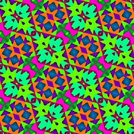 diagonally: Abstract fractal kaleidoscopic diagonally seamless floral decorative design in op art color style inspired by traditional Central American patterns Stock Photo