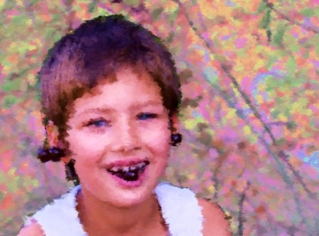 semblance: Colorful retro summer exterior portrait of a seven-year girl with earrings of cherries, she eats fruit. Digitally rendered illustration with a semblance oil paintings.