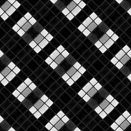 tiling: Black white kaleidoscopic oblique seamless tiling pattern Stock Photo