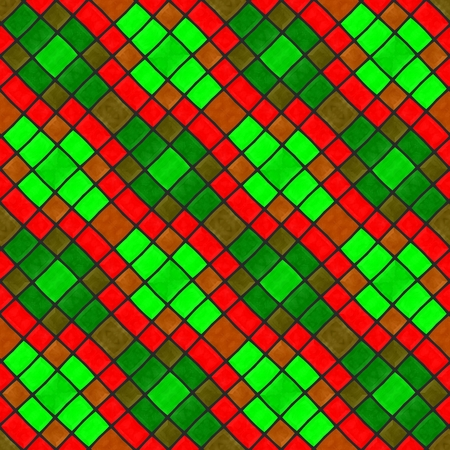 seamless tile: Red green mosaic tile diagonally striped seamless pattern Stock Photo
