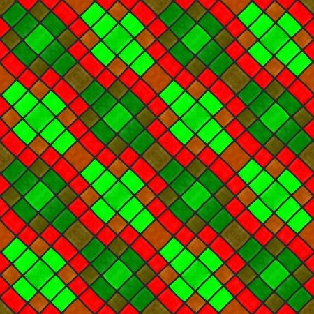 diagonally: Red green mosaic tile diagonally striped seamless pattern Stock Photo