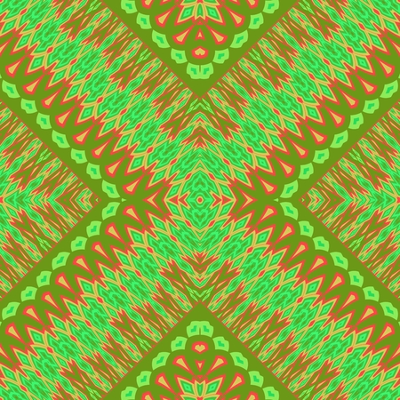 Abstract filigree lacy orange green decorative cross seamless pattern Stock Photo