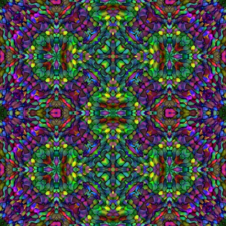 mirroring: Abstract kaleidoscope red green blue yellow mirroring seamless ornamental pattern