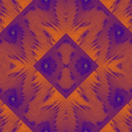 mirroring: Orange violet floral kaleidoscopic seamless mirroring fractal pattern Stock Photo
