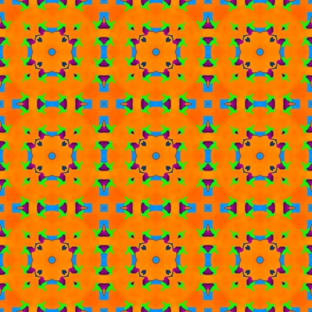 able: Abstract fractal kaleidoscopic seamless floral decorative design in op art color style inspired by traditional Central American patterns