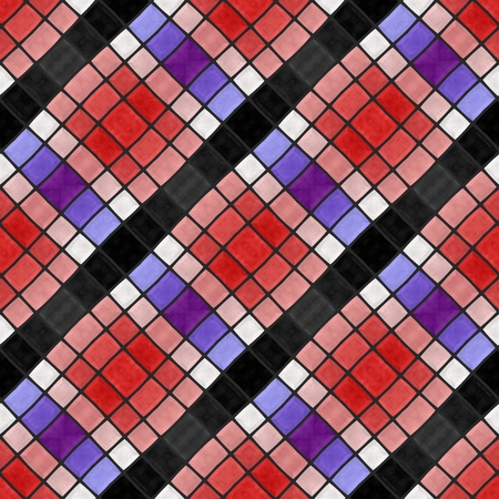 cuadros blanco y negro: negro blanco a cuadros patrón de color rojo púrpura azul abstracto diagonal del mosaico sin fisuras Foto de archivo