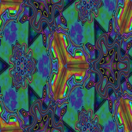 Abstract blue turquoise brown seamless kaleidoscopic background