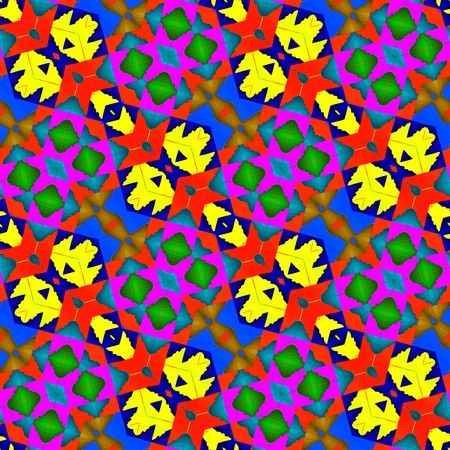 inspired: Abstract fractal kaleidoscopic diagonally seamless floral decorative design in op art color style inspired by traditional Central American patterns Stock Photo