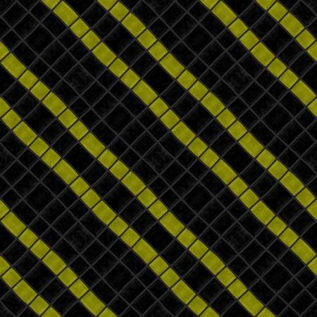 sidelong: Mosaic striped diagonally black yellow seamless pattern Stock Photo