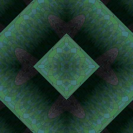 mirroring: Abstract rhombic green smoky dark decorative tile in art nouveau style Stock Photo