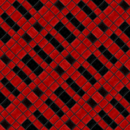 oblique: Abstract checkered cubist red black oblique mosaic tile pattern
