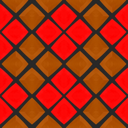 terracotta: Abstract checkered red gold mosaic tile pattern in terracotta style Stock Photo
