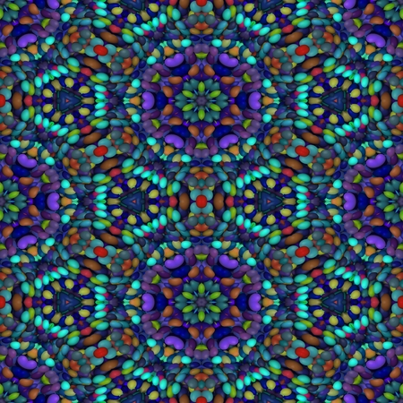 blue violet: Abstract geometric kaleidoscopic blue violet brown pattern