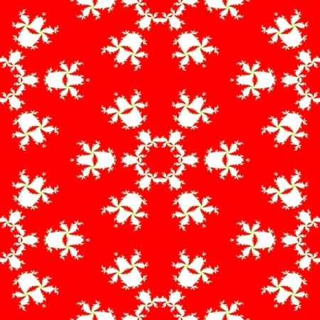 backing: Floral decorative fractal red white contrast background
