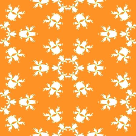contrast floral: Floral decorative fractal white orange contrast background