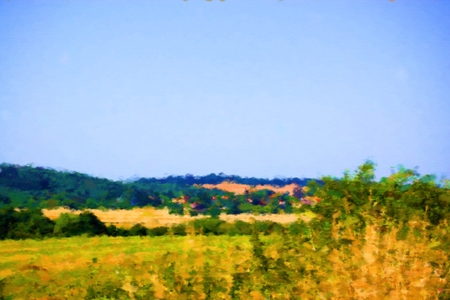 semblance: Country landscape in summer day - digital illustration with a semblance of genre oil paintings.