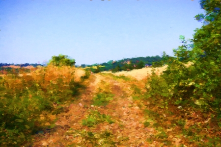 semblance: Dirt road in the hot summer - digital illustration with a semblance of genre oil paintings.