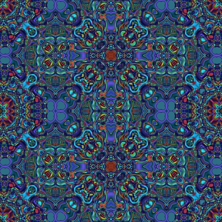Abstract seamless blue kaleidoscopic background Stock Photo