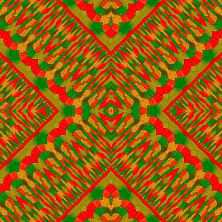 mirroring: Abstract kaleidoscope red green gold mirroring seamless ornamental pattern