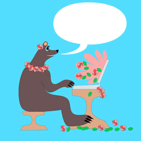 contented: Happy and contented mother bear sitting at the coffee table and writes a laptop. Computer emits a wave energy containing flowers and rose petals. Illustration