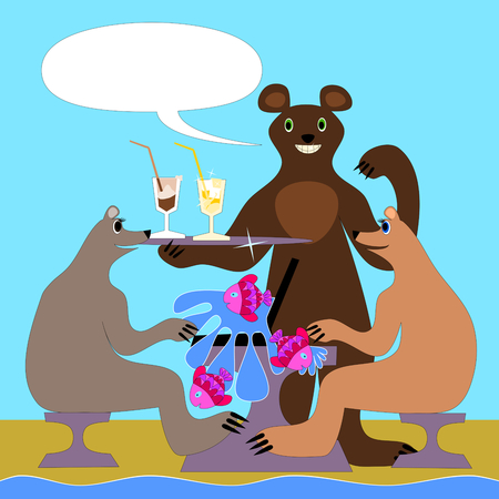 skim: Two female-bear sits at a table on the beach. From the laptop to splash water with fish. At the rear is a bear-male carries on a tray cool drinks.