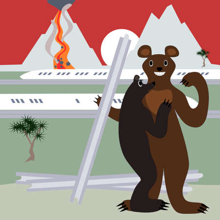 ursa: Ursa admires confident bear who steals the rails. The background is an active volcano and a high-speed train, and pine, sun over the mountains. Illustration