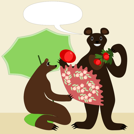 thieving: Cartoon bears male and female illustration in japanese style. She kneels on a cushion with a green parasol and fan with sakura cherry flowers pattern. He hold tomatoes. Smiling and happy animals.