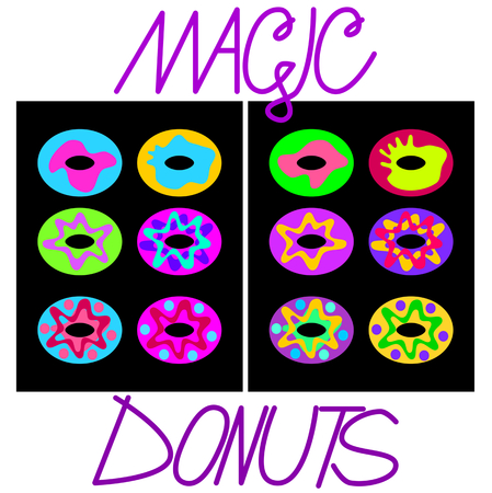 jazzy: Simplified flat image virulently trendy-colored donuts on a black plate with the inscription magic donuts Illustration
