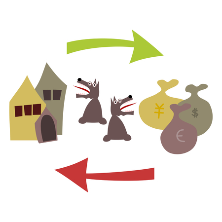 acquisitions: Buying and selling real estate. Houses, including kennel, green arrow, bags with dollars, yens and euros, a red arrow pointing to the left. On both looks terrified dog. Illustration