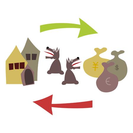 perro asustado: Compra y venta de bienes ra�ces. Casas, incluyendo la perrera, flecha verde, bolsas con d�lares, yenes y euros, una flecha roja apuntando hacia la izquierda. Por tanto parece perro aterrado.