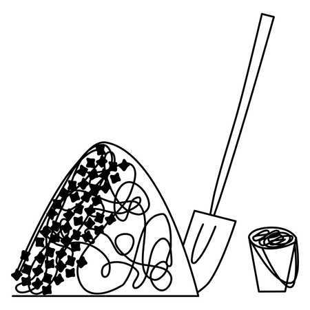 ballast: Pile of coal or ballast with shovel and pail