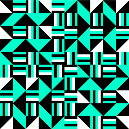 bauhaus: Black white turquoise cubist bauhaus style tileable background Illustration