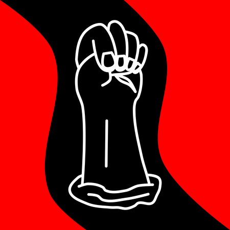 guerrilla: The hand clenched in a fist on a wavy black red background Illustration