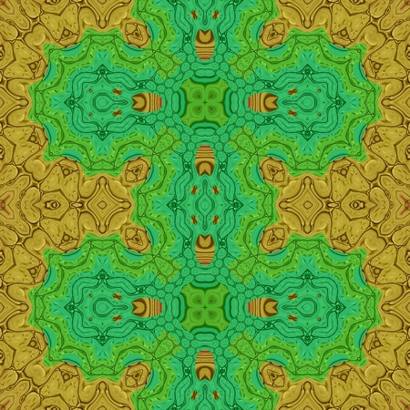 verdigris: Abstract colorful lacy filigree kaleidoscopic decorative oriental fractal floral fashionable tile Stock Photo