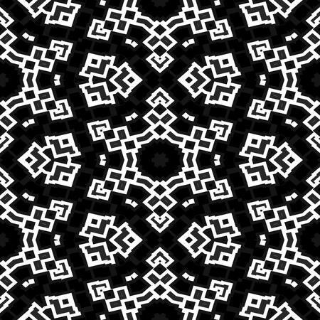 obituary: Abstract decorative seamless floral black white pattern Stock Photo