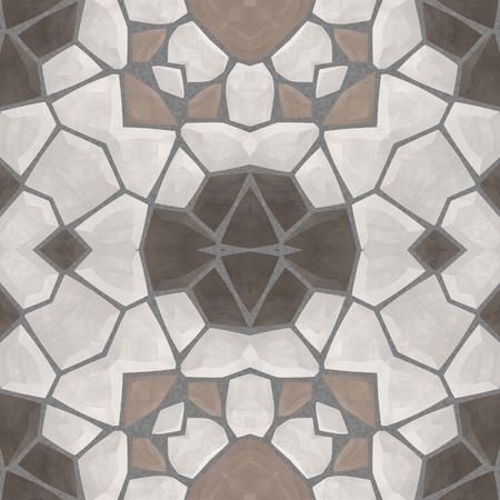 muted: Beige brown gray muted seamless kaleidoscopic mosaic pattern