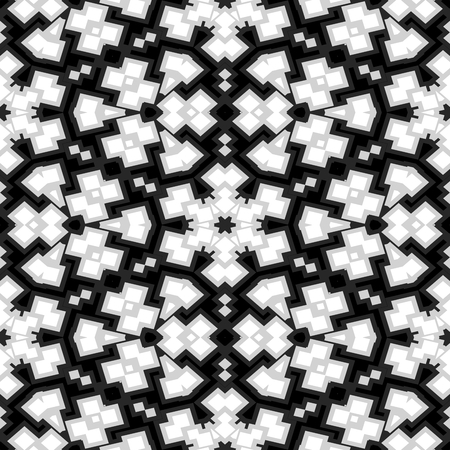 sedate: Abstract decorative seamless floral black white pattern Stock Photo
