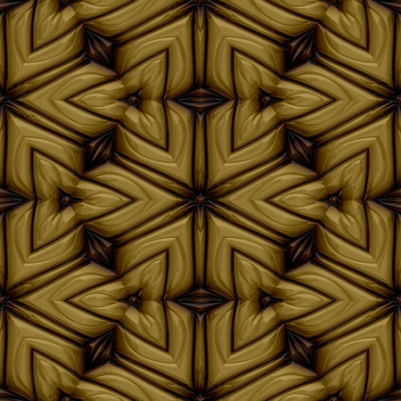 metalized: Abstract seamless decorative engraved gold or brass pattern on square tile - digitally rendered graphic