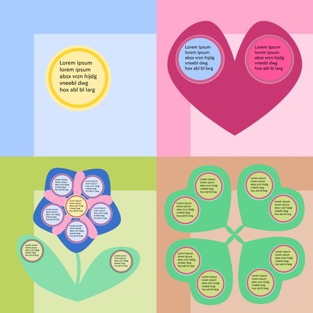 reminiscent: Round infographics fields on colorful background, reminiscent childs drawing. Illustration