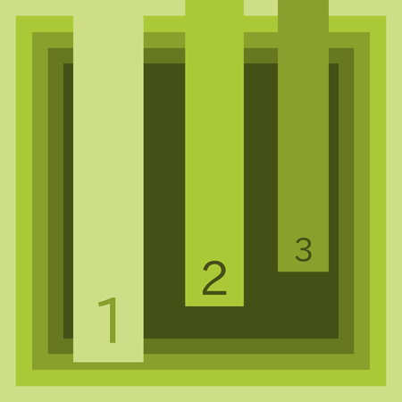 green card: Three-steps general info graphic in olive green shades Illustration