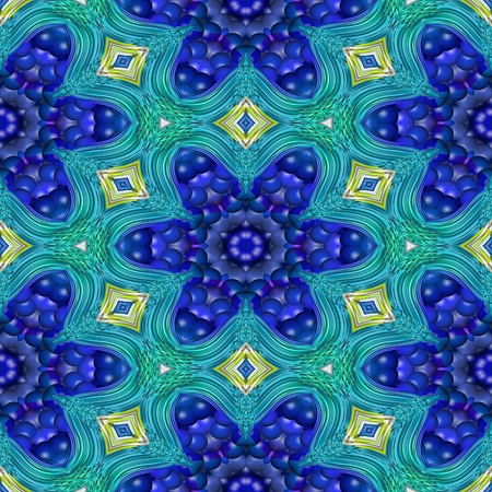 secession: Abstract floral blue white decorative seamless fractal pattern - digitally rendered raster illustration