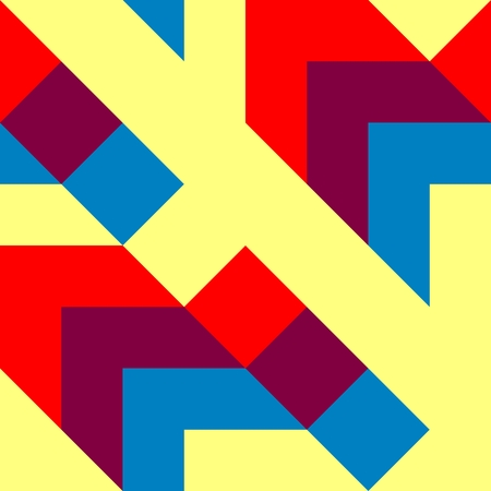 angular: Abstract tiles with op art angular yellow red blue pattern