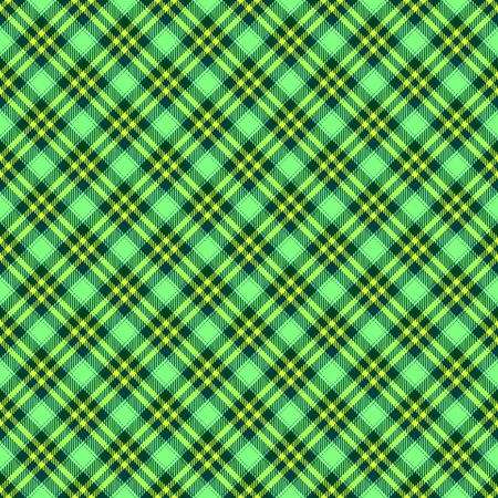 scotish: Green diagonally seamless regular checkered pattern with cloth texture - digitally rendered background