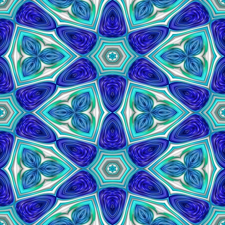 Abstract floral blue white decorative seamless fractal pattern - digitally rendered raster illustration