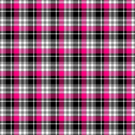 Textile textured black white red checkered abstract seamless pattern Stock Photo