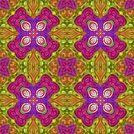 carpeting: Decorative floral abstract purple orange yellow white symmetrical seamless pattern