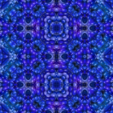 mirroring: Blue floral kaleidoscopic seamless mirroring fractal pattern