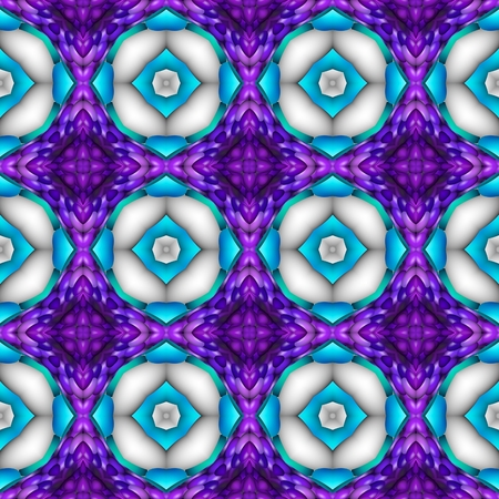 Abstract kaleidoscopic checkered floral shining blue purple violet white regular decorative digitally rendered print able seamless web background Stock Photo